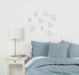 Wanddecoratie Monarchy - set van 9 vlinders - wit/nikkel - Umbra